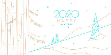Background with the inscription 2020 Happy New Year. Vector illustration in flat simple style with gold and blue lines. Reklamní fotografie - 131400261