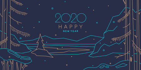 Background with the inscription 2020 Happy New Year. Vector illustration in flat simple style with gold and blue lines.