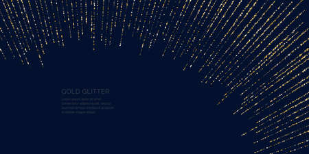 Background with gold glitter to place the inscription. Poster with lines consisting of particles. Vector illustration. 일러스트