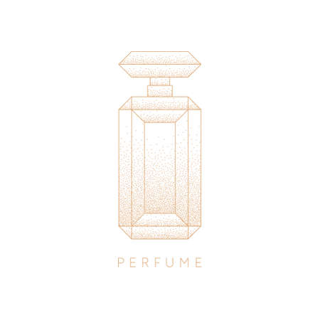 Bottle of perfume. Linear image perfume to monogram.