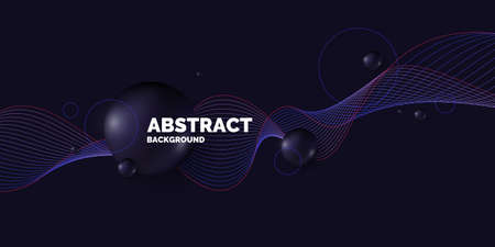 Black sphere on background. Abstract illustration with three-dimensional shapes. Illustration