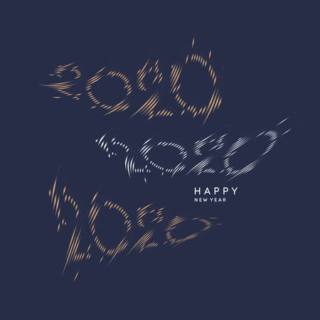 2020 lettering options. The inscription Happy New Year. Vector illustration in flat simple style.