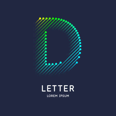 The letter D of the Latin alphabet. Display character in a bright contemporary style. Stok Fotoğraf - 134615243