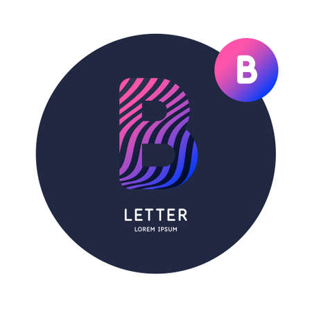 The letter B of the Latin alphabet. Display character in a bright contemporary style. Stok Fotoğraf - 134615168