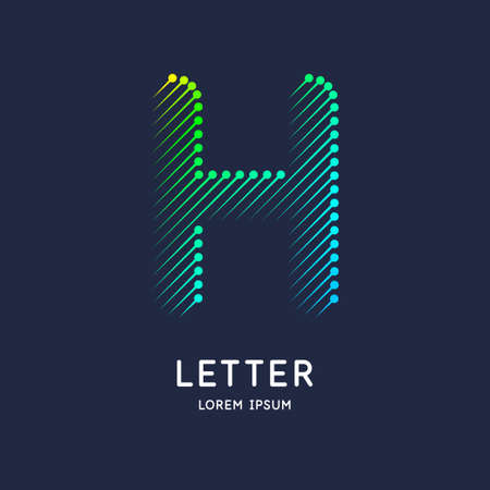 The letter H of the Latin alphabet. Display character in a bright contemporary style.