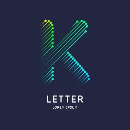 The letter K of the Latin alphabet. Display character in a bright contemporary style.