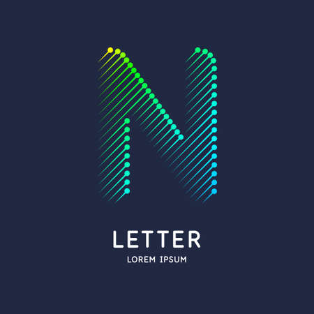 The letter N of the Latin alphabet. Display character in a bright contemporary style. Çizim