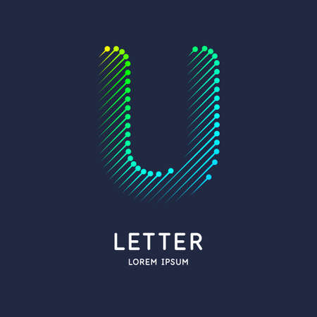 The letter U of the Latin alphabet. Display character in a bright contemporary style.
