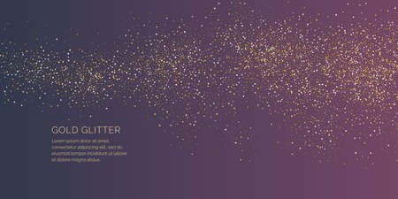 Gold glitter. Shiny particles on a dark background. Vector illustration can be a template for your design