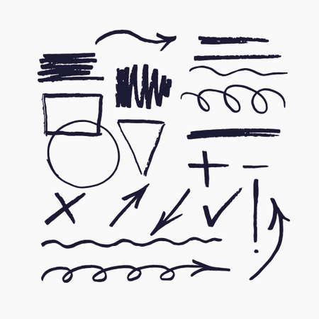 Ensemble d'éléments vectoriels pour les présentations dessinées avec un marqueur.