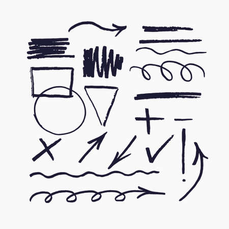 Set of vector elements for presentations drawn with a marker. Illustration