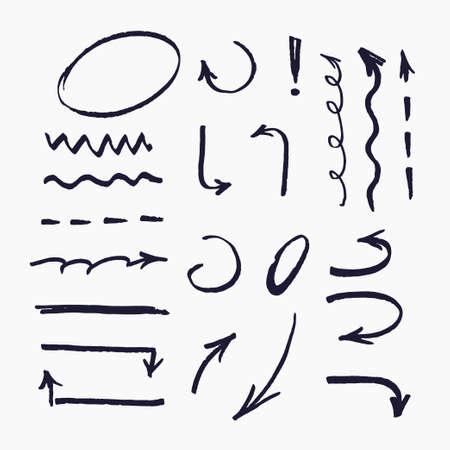 Surligneur. Ensemble d'éléments vectoriels pour les présentations dessinées avec un marqueur.