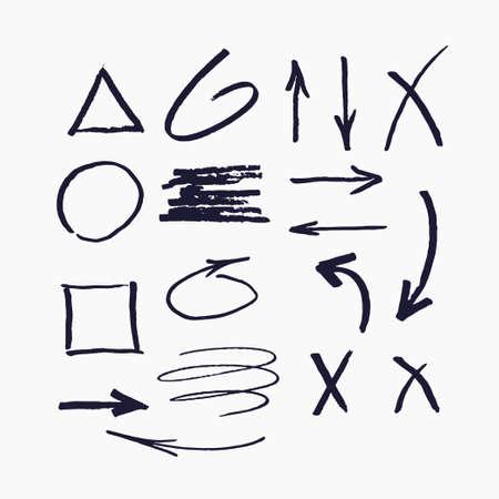 Satz von Vektorelementen für Präsentationen, die mit einem Marker gezeichnet wurden.