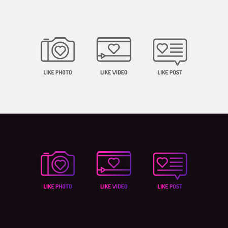 Set of icons for social networks. Like mark for photos and videos. Vector elements for a blog.