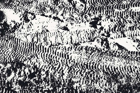 Black and white texture of the earth with traces of car wheels. Vector abstract background with dark spots and traces.
