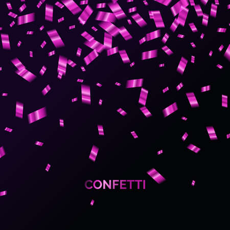 Confetti is falling. Abstract background with particles of different sizes. Template for placing text and design elements for the festival and celebration. Vector illustration.