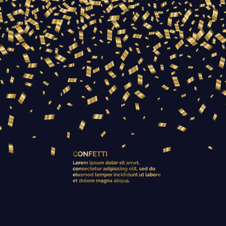Gold confetti is falling. Abstract background with particles of different sizes. Template for placing text and design elements for the festival and celebration. Vector illustration. Ilustração