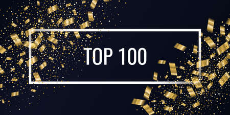 Top 100 poster. Gold confetti is falling. Abstract background with particles of different sizes. Template for placing text and design elements for the festival and celebration. Vector illustration. Ilustração
