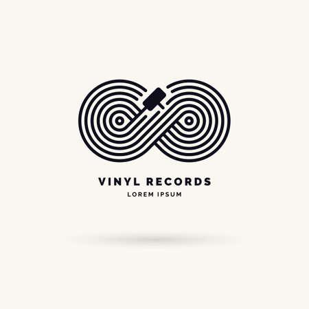 Emblem der Vinyl-Schallplatte. Lineares Unendlichkeitszeichen. Vektorillustrationsmusik auf grauem Hintergrund.