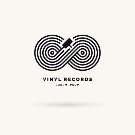 Emblem of the Vinyl record. Linear infinity sign. Vector illustration music on grey background.