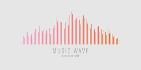 Vector illustration of music wave in the form of the equalizer on grey background