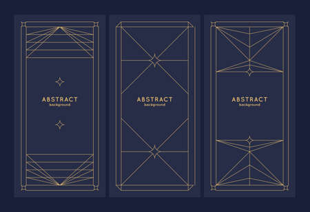A set of Minimalistic postcards for text. Geometric illustration with gold lines.