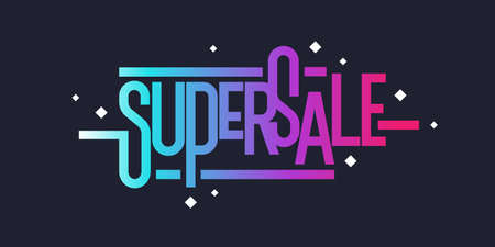 Super sale poster for discount. Vector illustration.