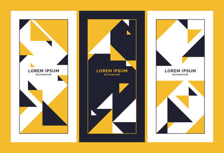 A set of Minimalistic postcards for text. Vector geometric illustration. Çizim