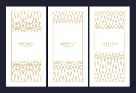 Minimalist postcard for text. Geometric illustration with gold lines. Çizim