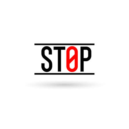 Stop sign on a white background. Prohibiting sign.