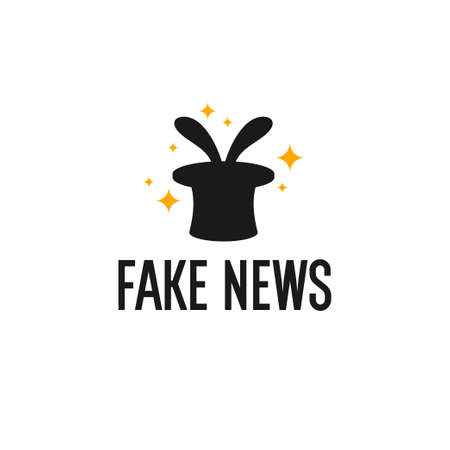 Fake news. Vector illustration. Image of a magician s top hat on a white background. Çizim