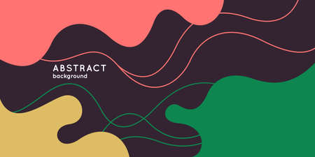 Poster with dynamic waves. Vector illustration in minimal flat style. Abstract background. Çizim