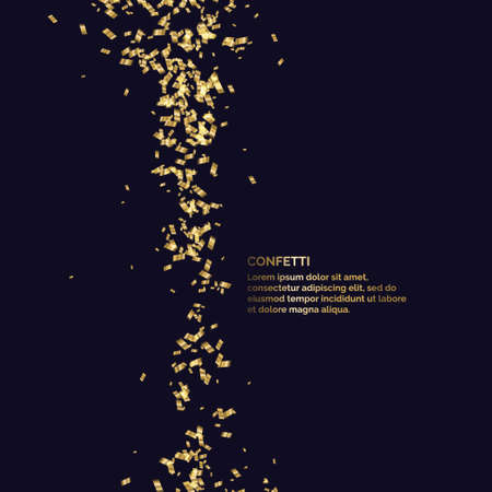 Gold confetti is falling. Abstract background with particles of different sizes. Template for placing text and design elements for the festival and celebration. Vector illustration.