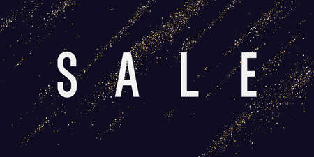 Sale banner. Gold glitter. Shiny particles on a dark background illustration