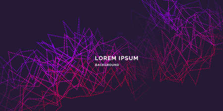 abstract background with dynamic waves, line and particles.