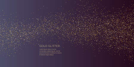 Background with gold glitter to place the inscription. Poster with lines consisting of particles.