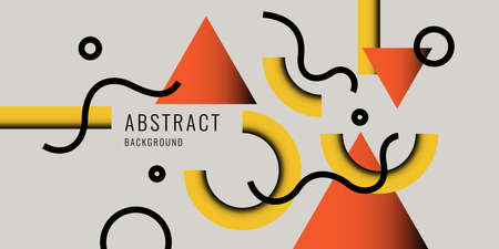 Bright poster with dynamic shapes. Illustration in minimal style