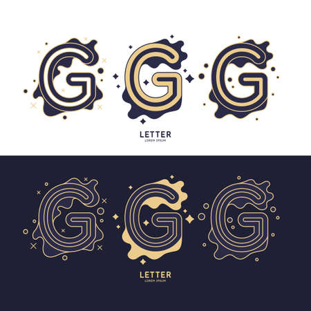 The letter G of the Latin alphabet. Display character in a contemporary style. A sign with dynamic splashes.