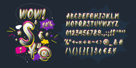Modern alphabet font. Capital letters of the Latin alphabet. Vector symbols. Vettoriali