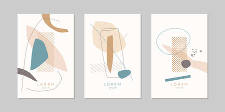 A set of posters. A composition with abstract elements in a popular style. Background for your design. 일러스트
