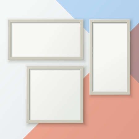 A set of realistic photo frames for placing images. Template for a poster, banner, or ad.