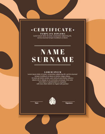 Certificate template for posting your information and text. The design of the certificate of honor in a modern style.