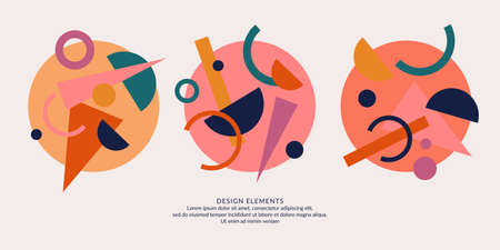 Abstract elements in retro style, a template for your design.