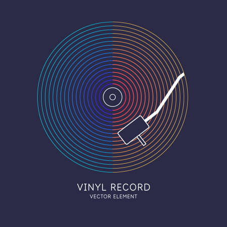 Poster of the Vinyl record. Illustration music on dark background.