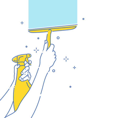 Image on the theme of cleaning and cleanliness. A persons hand is holding a window cleaner scraper.