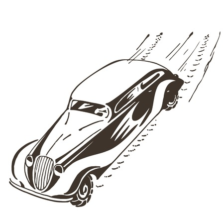 car speed: Old car racing at high speed, leaves a trail Illustration