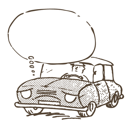 Sad and tired car with a driver behind the wheel Illustration