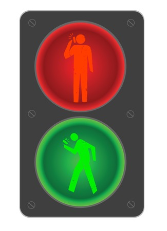 Conceptual illustration of a traffic light for pedestrians with mobile devices Vector