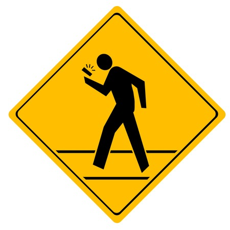 Road sign crosswalk  People crossing the road talking on the phone Vector
