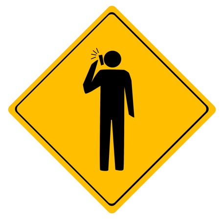 Road sign Man working  People talking on the mobile phone Vector